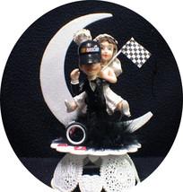 NasCar Hat AUTO MECHANIC Bride & Groom top Rod Wedding Cake Topper Wedding Race - $41.80