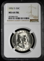 1952S Franklin Silver Half Dollar 50¢ Coin MS64 FBL NGC Lot A 558