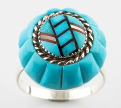 Rare Lee & Mary Weebothee Vintage Sterling Silver Turquoise Inlay Ring - $600.33