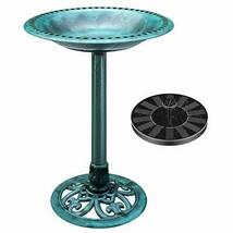 Polyresin Antique Outdoor Green Garden Bird Bath and Solar Powered Round... - $131.95