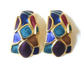 Large Gold Tone Metal Multi Color Enamel Half Moon Clips Earrings - $19.01