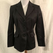 Talbots Petites Womens 4 Blazer Black Lined Stretch Four Button - $19.98