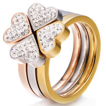 Gorgeous Three Ring Set Stainless Steel Silver Gold Rose Crystal Clover - $11.36