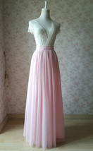 LIGHT PINK Full Length Tulle Skirt Plus Size High Waist Pink Tulle Skirt image 4