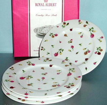 Royal Albert Country Rose Buds Salad Dessert Plate Set of 4 New In Box - $89.90