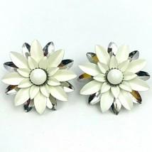 Sarah Coventry Summer Magic Enamel Flower Clip On Earrings White Silver ... - $17.76