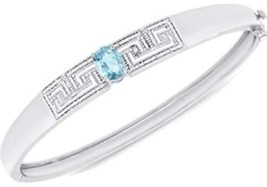 Blue Topaz and Diamond Accent Greek Key Bangle Bracelet in Silver-Plated... - $84.86