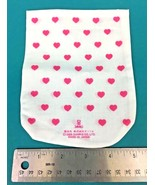 """Vintage Sanrio White Cloth Small 6.5"""" Tall Bag Pink Hearts 1985 Made In ... - $8.95"""