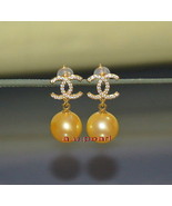 CC Top 14K GOLD 10-11MM NATURAL real round SOUTH SEA golden PEARL EARRINGS - $499.52