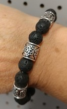 Prayer Beads Black Lava Stone Bead Hand Mala with Charms