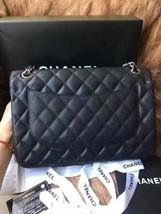 Authentic NEW Chanel Black Jumbo Caviar Double Flap Bag Silver Hardware Receipt image 3