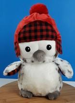 Aurora Lumberjack Snowy Owl Plush White Spotted Plush Animal Red Check H... - $25.29