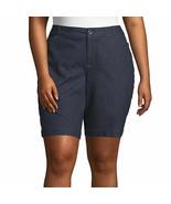 St. John's Bay Women's Plus Mid Rise Bermuda Shorts Size 24W Rinse NEW 1... - $26.72