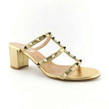 New VALENTINO Size 10 ROCKSTUD Gold Studded Block Heels Sandals Shoes 41... - $659.00