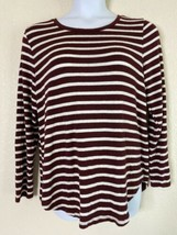 Old Navy Womens Size XL Maroon & White Striped Knit Shirt Tunic Long Sleeve - $11.88