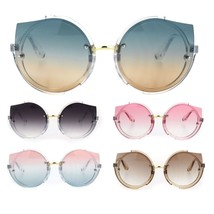 Womens Mod Exposed Cat Eye Lens Tip Round Hippie Sunglasses - $16.94 CAD