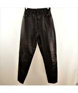 Deerskin Leather Black Jeans Lined Womens Sz 10 - $58.04