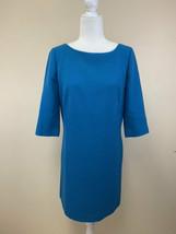 Ann Taylor 8 Teal Blue 3/4 Sleeve Ponte Shift Dress Exposed Zipper - $32.99