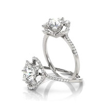 Cathedral Floral Diamond Halo Engagement Ring - $1,525.00