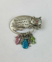 Vintage signed TC silver tone cat enamel trinkets hanging brooch pin - $21.08