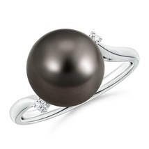 11mm Ball Solitaire Tahitian Cultured Black Pearl Diamond Ring 14k Gold - $1,088.10
