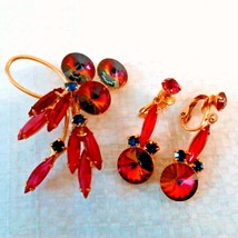 Watermelon Red Rivoli Heliotrope Rhinestone Brooch & Earrings - $54.45