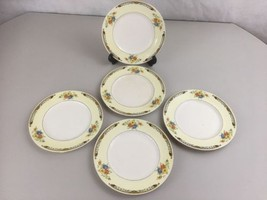 """Alfred Meakin England China 5 - 7"""" Bread & Butter Plate Yellow Rim Flora... - $24.70"""