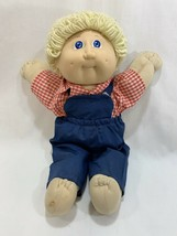 Vtg 1985 Coleco Cabbage Patch Kids Doll Yellow Blonde Hair w/Overalls Outfit #2 - $14.84