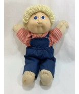 Vtg 1985 Coleco Cabbage Patch Kids Doll Yellow Blonde Hair w/Overalls Ou... - $14.84