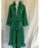Irena Paris Loose Knit Long Sweater Blue Green Ties At Waist Fringe Neck... - $56.93