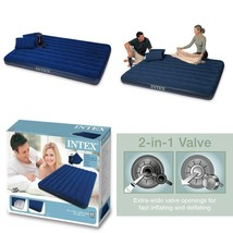 Air Bed Blue Camping Matress Portable With 2 Pillows Intex Classic Downy... - ₨2,543.31 INR