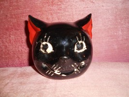 VINTAGE BLACK CAT HEAD COIN BANK GREAT FOR HALLOWEEN - $52.50
