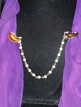 """Vintage Silver tone Sweater Clip with Brown And Amber Colored Stones 8"""" (1277) - $10.00"""
