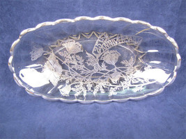 Oblong 25th Anniversary Glass Dish With Silver Overlay - $33.20