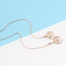 Ear Thread Series 18k Rose Gold Mesh Chain Hollow Star Dangle Earrings image 3