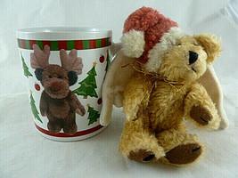 "Boyds Bearware Pottery Works 2004 Holiday Mug Reindeer + Teddy Angel Jointed 5"" - $19.79"