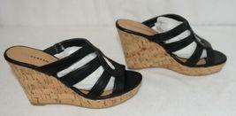City Classified Layka S Black Sandal Wedge Heel Size Six image 3