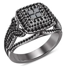 Princess Cut Black Diamond Womens Engagement Ring 14k Black Gold Over 92... - £67.94 GBP