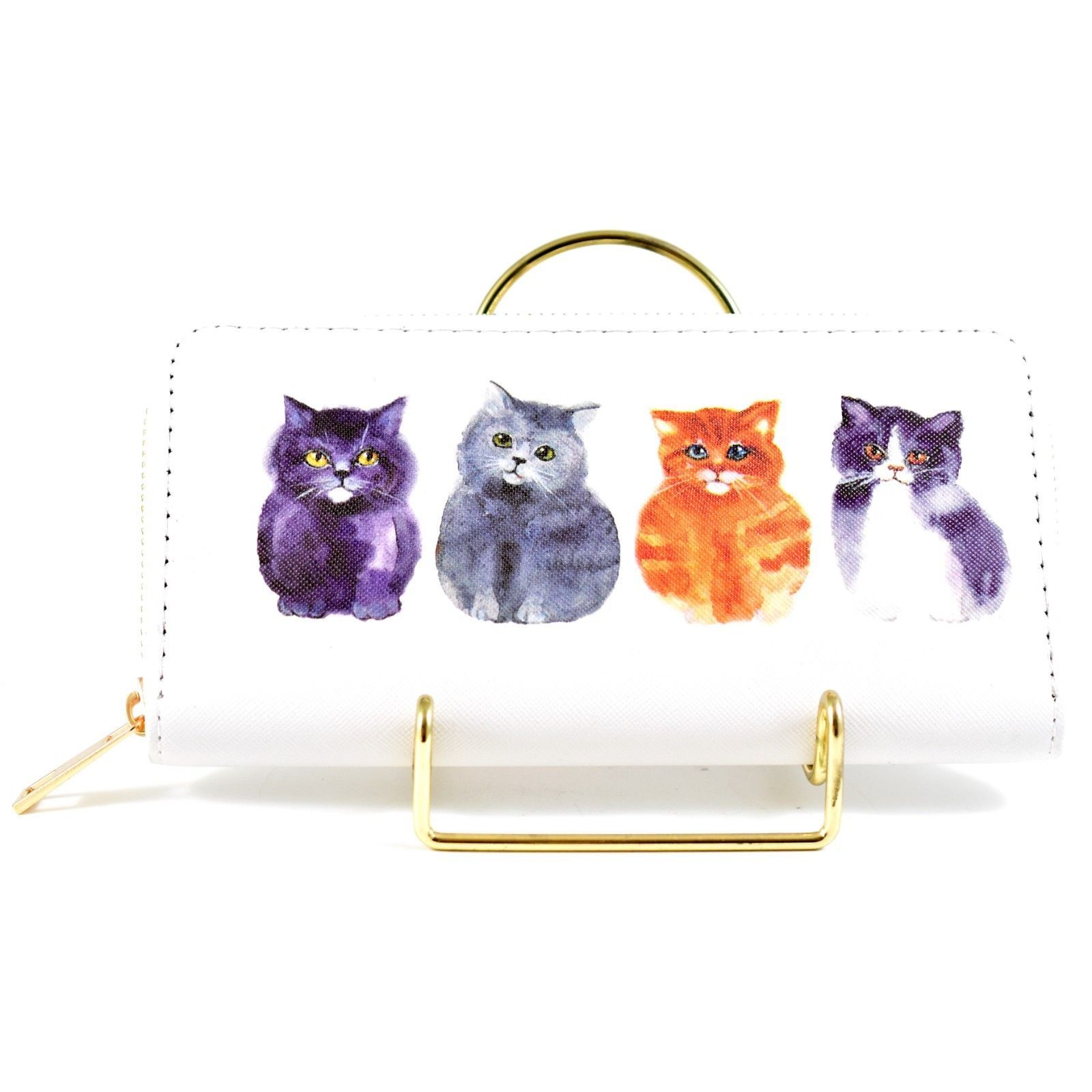Four Fat Kitten Kitty Cats Design Printed Vinyl Zip Around Clutch Wallet NEW