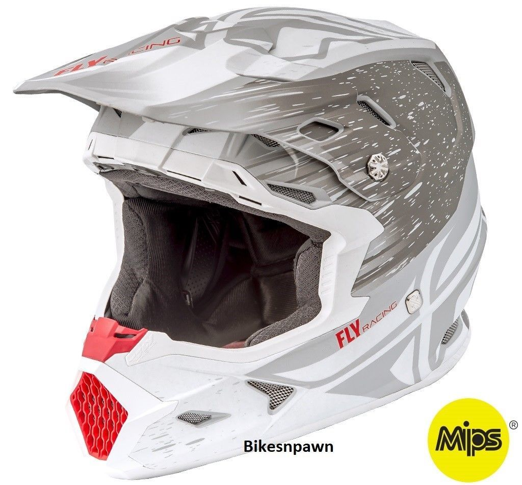 New L Adult Fly Racing Toxin Resin Moto Off Road Helmet Flat White/Gray MPS