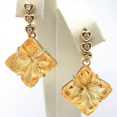 Drop Earrings in Yellow Gold 18K, Diamond, Citrine, Heart & Flower