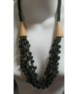 Vintage Multi-Strand Black & Beige Wood Bead Statement Necklace  - £22.30 GBP