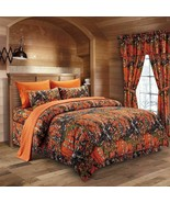 The Woods Camo Orange 12 Piece Queen Size Comforter and Sheet Set with C... - $90.25