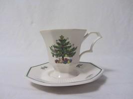 NIKKO CHINA CHRISTMASTIME CHRISTMAS TREE OCTAGON SHAPE CUP & SAUCER - $9.99
