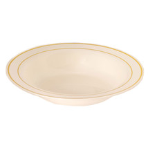 Plastic 12 Oz. Beige Round Bowl with Gold Band/Case of 120 - $85.49