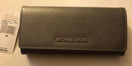 NWT Michael Kors Jet Set Travel Carryall Letters Flap Wallet Leather Nickel - £67.76 GBP