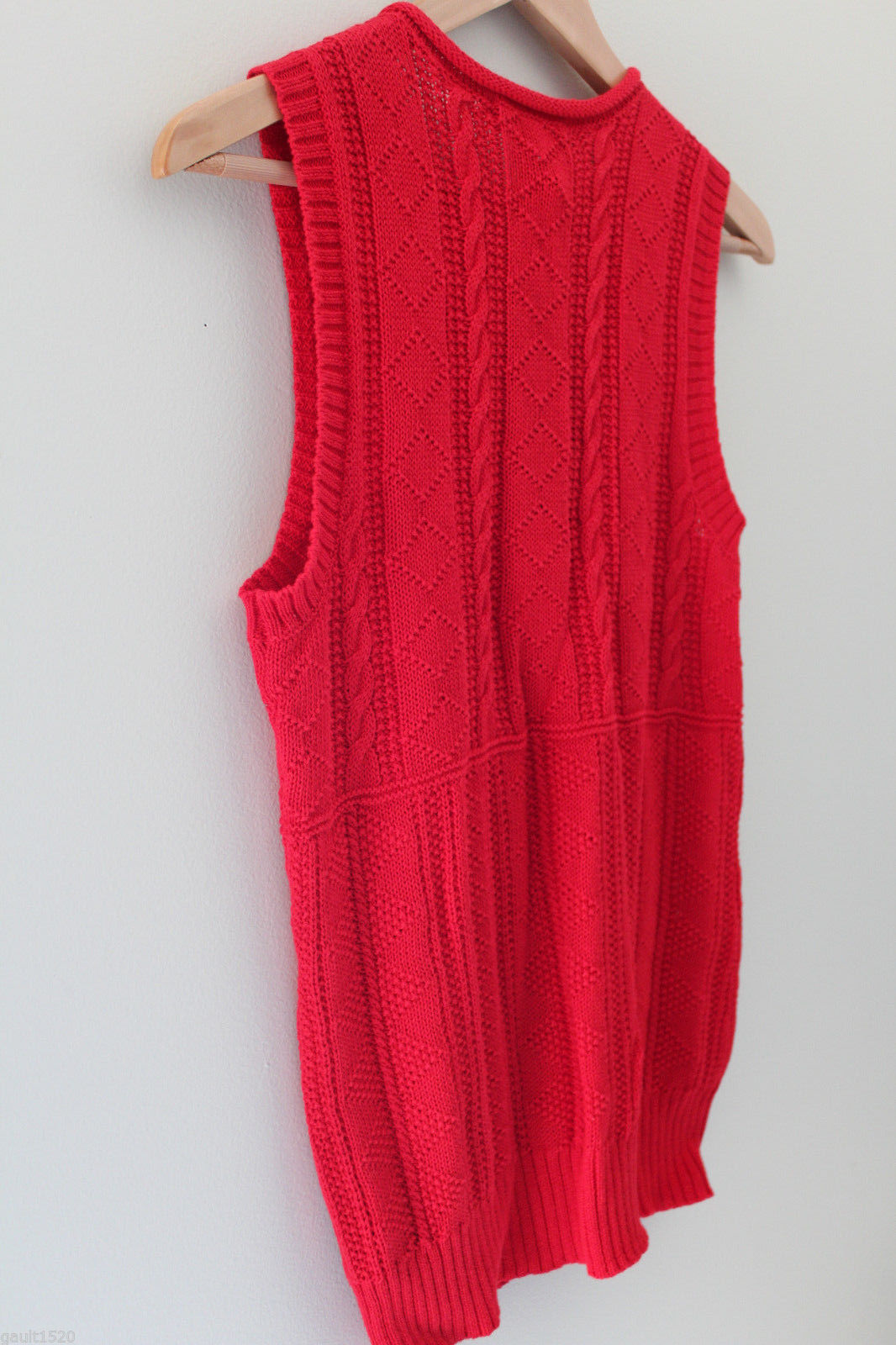 NWT LAUREN Ralph Lauren Red Linen Cotton Knit Sleeveless Sweater Vest M $100 image 8