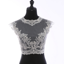 Deep V Illusion Neckline Lace Tops Sleeveless Empire Style Lace Bridesmaid Tops image 1