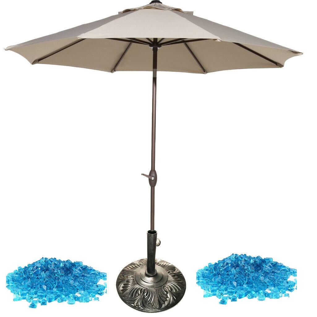 Delux patio furniture accessories 3pc 9ft umbrella 30lbs fireglass 50lbs base