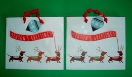 Set of 2 Season's Greetings Dachshund Christmas Holiday Gift Bags - $12.00
